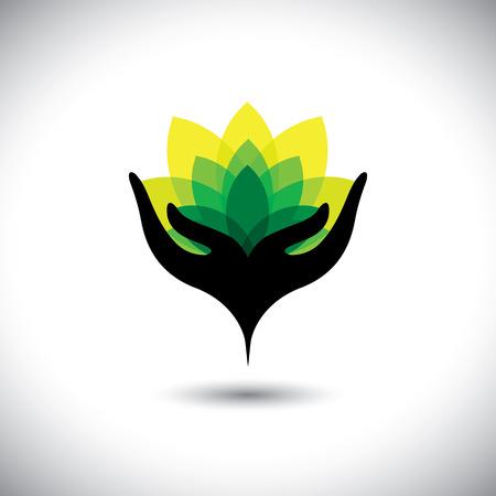 Eco concepto gráfico de la mano las niñas con las hojas vibrantes frescas - iconos vectoriales. Esto también representa negocio de la belleza, rejuvenecimiento y curación spas, resorts de lujo, terapia alternativa, conservación de la naturaleza Foto de archivo - 38557445