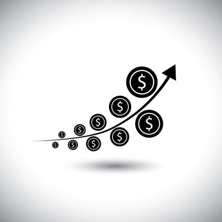 crecimiento: gráfico con las monedas de dólar que muestran un alto crecimiento - icono vectorial. esto también representa el mercado de dinero, las tendencias de divisas, rentabilidad de la inversión, la multiplicación de activos