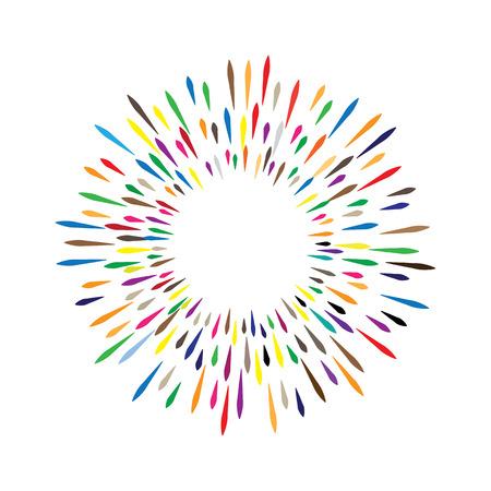 화려한 무지개 벡터 수채화 화환은 페인트 얼룩 방울