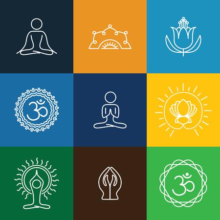 vector yoga iconen & round lijn badges - grafisch ontwerp elementen in schets stijl. deze monogrammen of emblemen vertegenwoordigen ook een spa centrum, yoga studio, beauty & wellness bedrijf, meditatie retraites