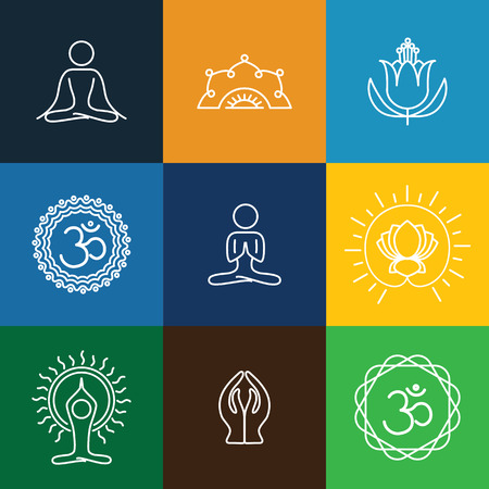 vector yoga icons & round line badges - graphic design elements in outline style. these monograms or emblems also represent spa center, yoga studio, beauty & wellness business, meditation retreats