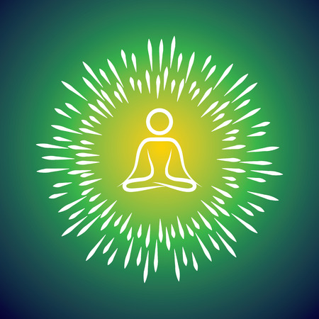introspection: meditation symbol vector icon & sunburst like rays emerging from the person sitting in silence for introspection