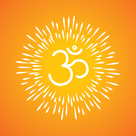 om symbol vector icon & sunburst like rays emerging from the aum sign Vector