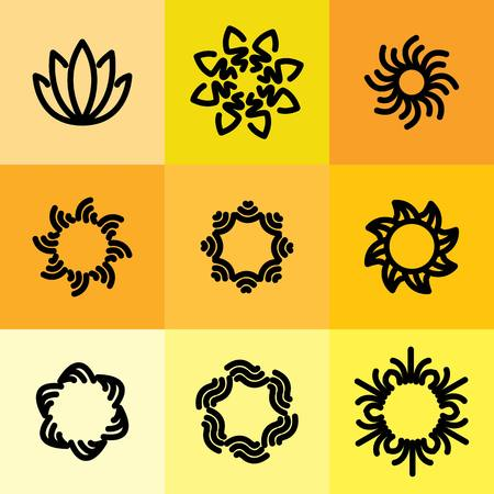 resorts: vector icon set of abstract frames & logo templates in line style - graphic design elements. these monograms or emblems also represent beauty & wellness business, womens beauty clinics, spa resorts