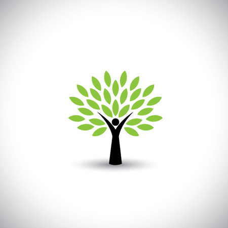hand logo: people tree icon with green leaves - eco concept vector. This graphic also represents environmental protection, nature conservation, eco friendly, renewable, sustainability, nature loving Illustration