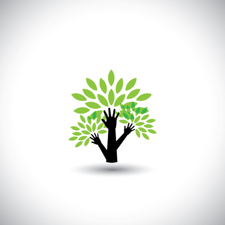 biosphere: recycling, eco tree hand with leaves, helping nature - concept vector. The graphic also represents nature conservation, preserving ecological balance, sustainable living, biosphere protection Illustration