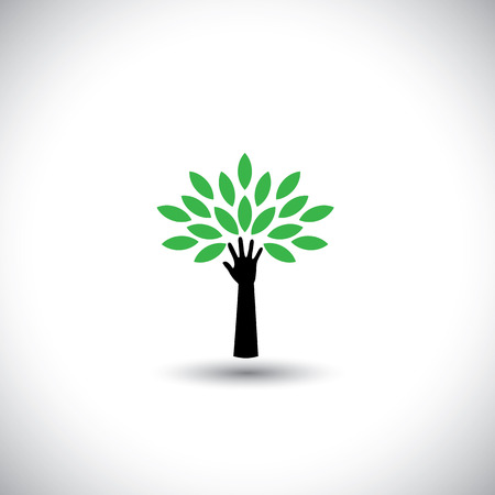 human hand & tree icon with green leaves - eco concept vector. This graphic also represents environmental protection, nature conservation, eco friendly, renewable, sustainability, nature loving Vector