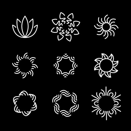 resorts: vector line icon set of flower designs & floral elements. these monograms or emblems also represent beauty & wellness business, womens beauty clinics, spa resorts