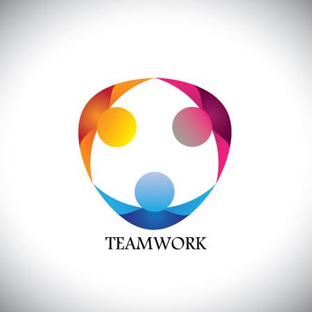 trabajando en equipo: gente abstracta equipo y trabajo en equipo - icono vectorial. Este icono también puede representar a amigos juntos, los empleados de la unión, los niños o los niños jugando, la unidad, la diversidad