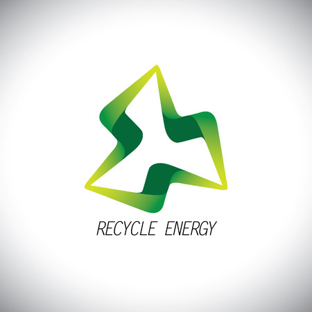 reprocess: eco recycle concept power icon design vector . this icon can also represent flash, electricity, thunderbolt, renewable energy, green energy Illustration
