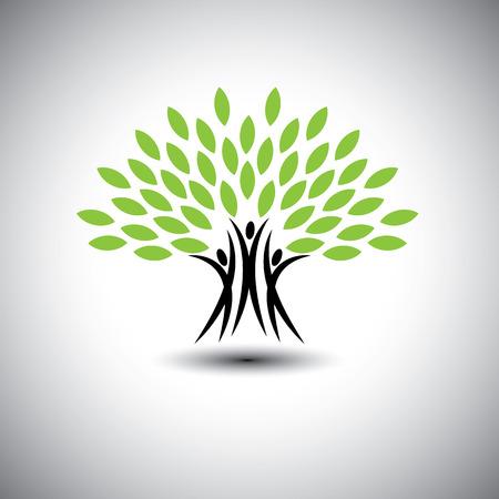onderwijs: gelukkig, vrolijke mensen als bomen van het leven - eco-concept vector icon. Deze grafische vertegenwoordigt ook harmonie, vreugde, geluk, vriendschap, onderwijs, vrede, ontwikkeling, gezonde groei, duurzaamheid