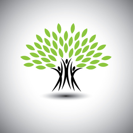 healthy growth: happy, joyous people as trees of life - eco concept vector icon. This graphic also represents harmony, joy, happiness, friendship, education, peace, development, healthy growth, sustainability