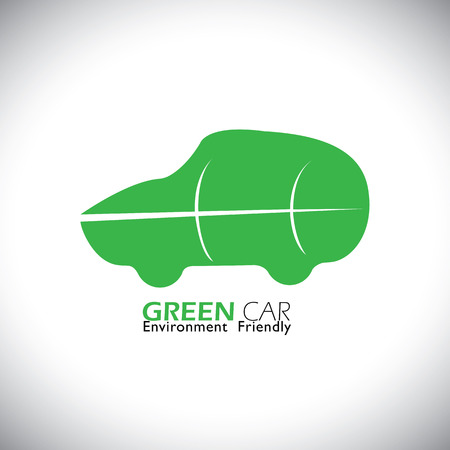 green fuel: eco friendly green car concept vector icon. this icon can also represent car using renewable energy resources for fuel, environmentally friendly vehicle Illustration