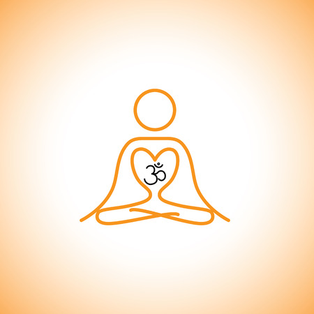 health and fitness: love of yoga & meditation concept vector icon. this icon can also represent  peace, harmony, spa, studio, health & fitness