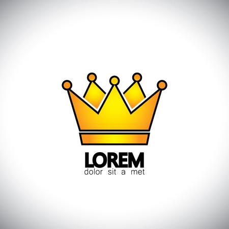 corona de rey: resplandeciente de oro icono de vector de concepto corona. Este icono también puede representar ganador, triunfo, éxito, logro, hazaña, realización Vectores