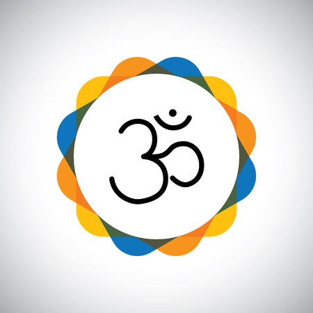hinduism: aum or om hinduism vector icon for world peace. this also represents concepts such as meditation, yoga, prayers, peace, harmony