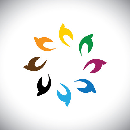 circulate: colorful flying birds in circle  Illustration