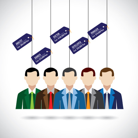 salary man: flat design of various professionals like doctor, manager and costs.  Illustration