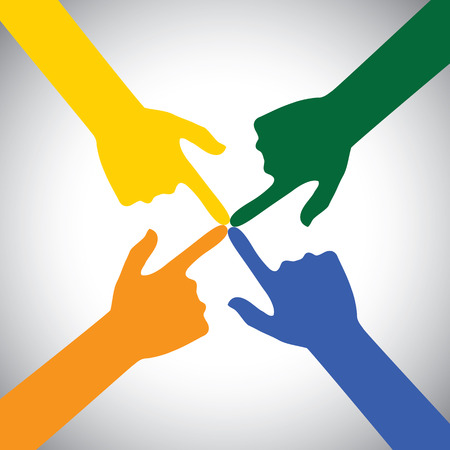 to commit: flat vector design hands touching each other. this vector also represents index fingers touching indicating commitment, intention, engagement, unity in diversity, cooperation