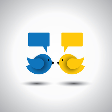 chitchat: icon of two little birds communicating with each other.