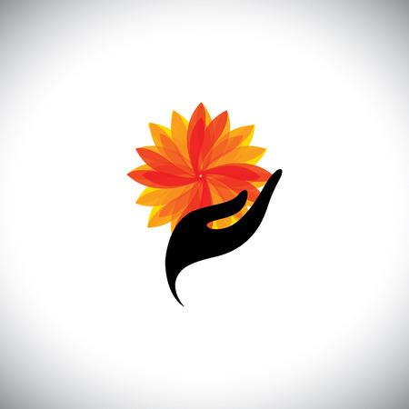 아이콘 - 여자 손 및 꽃 스파 개념 그래픽입니다. 일러스트