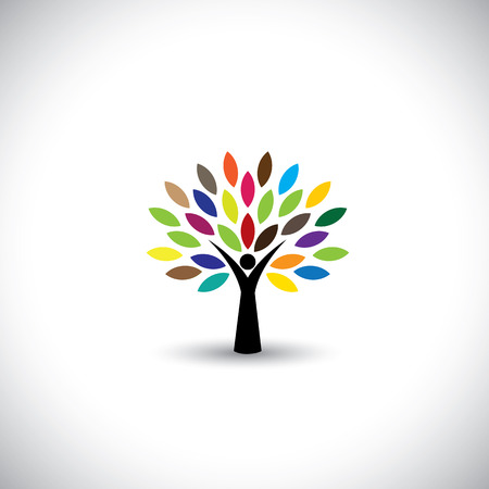 hugs: people tree icon with colorful leaves - eco concept vector. This graphic also represents peace, union, unity, embrace, blend, join, unify, renewable, sustainability, harmony