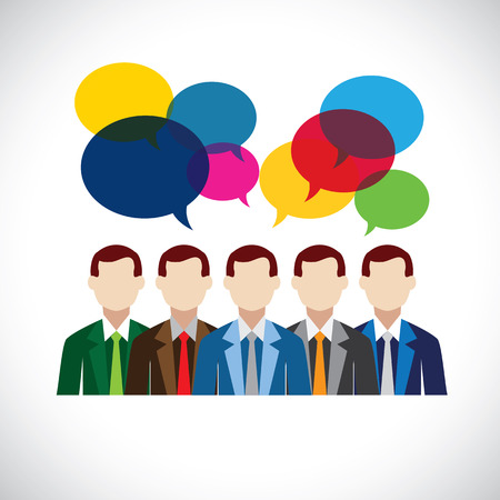 engagement: flat design of employees or executives in meeting.