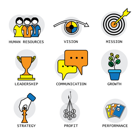 line vector design of the company, performance & growth concepts & others like vision & mission, human resources management, employee administration, communication, leadership, strategy