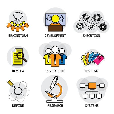 Línea de diseño vectorial de proceso de la industria del software de desarrollo y pruebas. estos iconos representan también conceptos como equipo, los desarrolladores, una lluvia de ideas que definen la red sistemas de investigación Requisitos Foto de archivo - 43343095