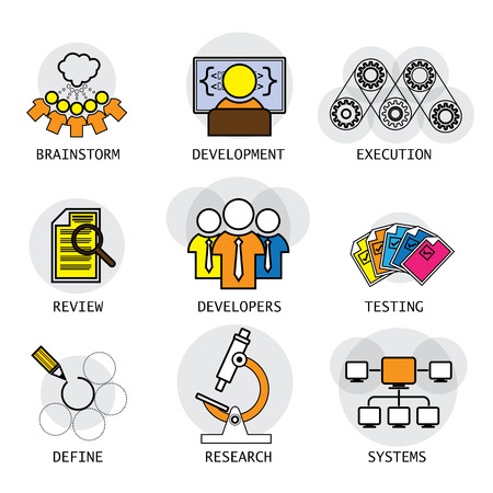line vector design of software industry process of development & testing. these icons also represent concepts like team, developers, brainstorming ideas defining requirements research systems network Vettoriali