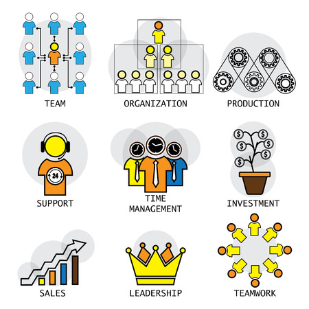 sales team: line vector design of office structure, leadership, team & teamwork. these icons also represent concepts like investment, profit sales, industry activity like production, time management, support