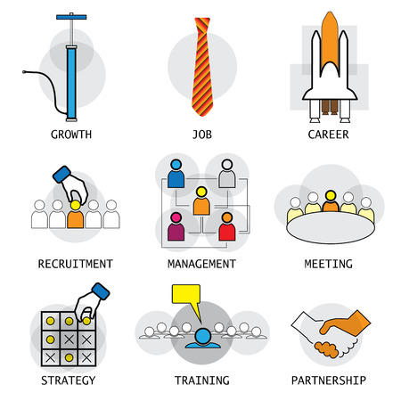 scenario: line vector design of office people career selection management. these icons also represent concepts like growth strategy planning partnership handshake employee meetings