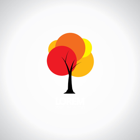 gaudy: colorful unique tree with vibrant leaves - abstract concept vector icon. this also represents lively, bright, vivid, vibrant, rich, splashy