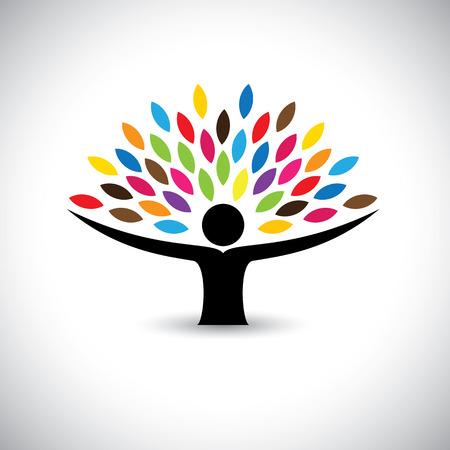 vida saludable: personas que abrazan el árbol o la naturaleza - estilo de vida ecológico concepto vectorial. Este gráfico también representa la armonía, la conservación de la naturaleza, el desarrollo sostenible, el equilibrio natural, el desarrollo, el crecimiento saludable Vectores