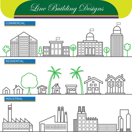 commercial real estate: vector line concept icons of commercial, residential and industrial buildings. these also represent concepts like flats, real estate, property, office space, factory, industry, home, house Illustration