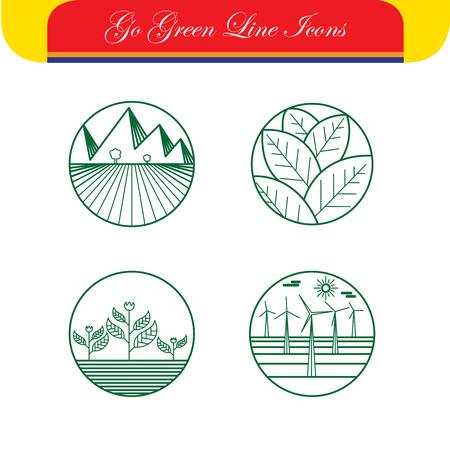 viento: paisaje y la naturaleza de vectores iconos - logotipo de plantillas abstractas y s�mbolos de l�nea. Este conjunto tambi�n representa monogramas, granjas y campos, molinos de viento y aerogeneradores, el crecimiento, los conceptos ecol�gicos, la agricultura rural