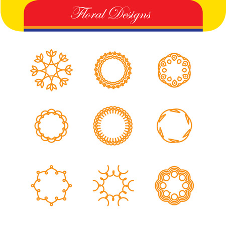 simple logo: floral outlines & line badges vector designs - abstract hipster logo templates. This also represents monograms, border frames, simple line icons, floral design elements