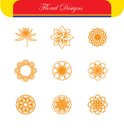 ear ring: vector floral line icons & logo design templates in outline style. these abstract monograms or emblems also represent abstract flowers, finger ring and ear ring designs, eco concepts, etc