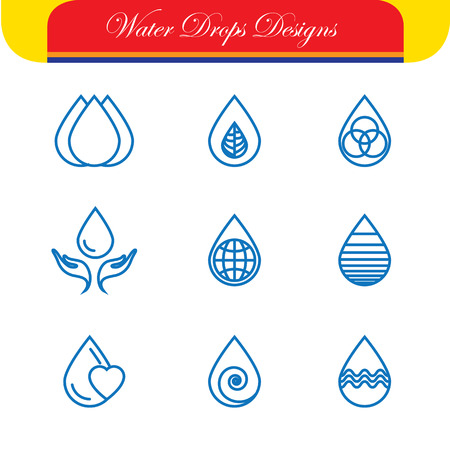 icons set: set of water drops & nature vector - abstract logo templates & line icons. This also represents monograms, water conservation, natural resources protection, reuse & recycle, eco concepts