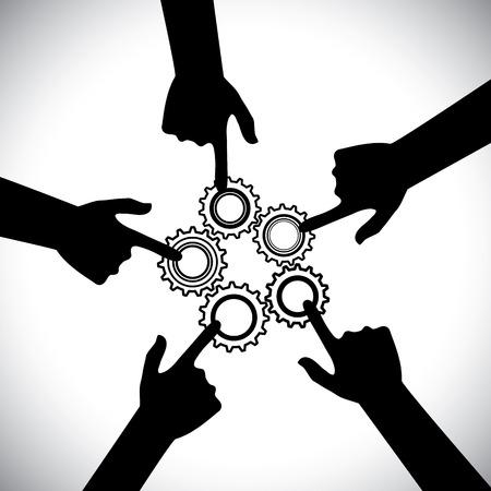 manos unidas: Concepto de vector graphic- del trabajo en equipo, la unidad y la integridad de la comunidad. La ilustraci�n muestra 3 siluetas de manos que sostienen 3 ruedas dentadas y ellos giran en sincronizaci�n y equilibrio Vectores