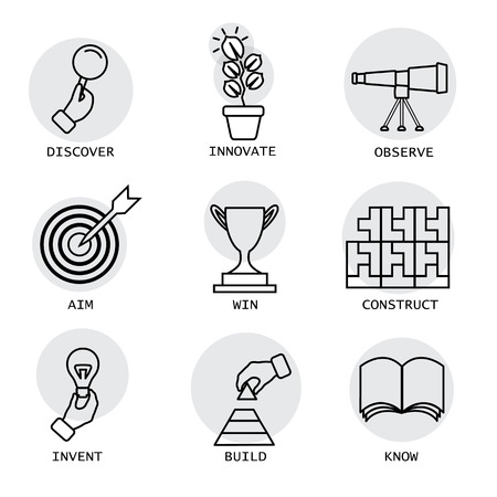 blocks: vector line icons of concepts like discovery, innovation, invention. it also represents concepts like construction, building, aiming, target, knowing, knowledge, victory, competition, observation Illustration