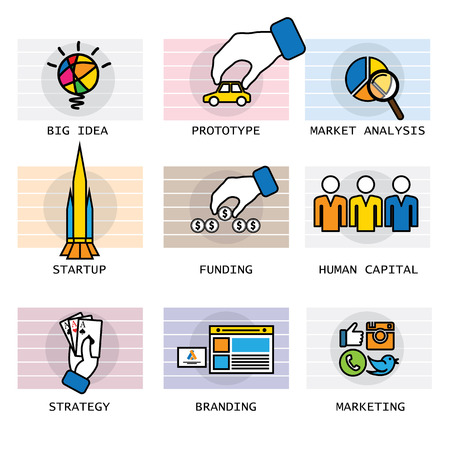 human capital: vector line icons of startup company and associated processes. these represent concepts like funding, investment, branding, marketing, social media, human capital management, strategy, market analysis