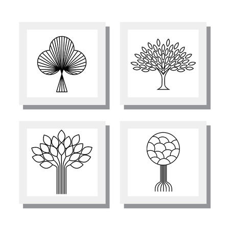 tree of life silhouette: abstract organic tree line icon Illustration