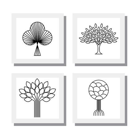 arbol de la vida: orgánico abstracto icono de la línea de árboles