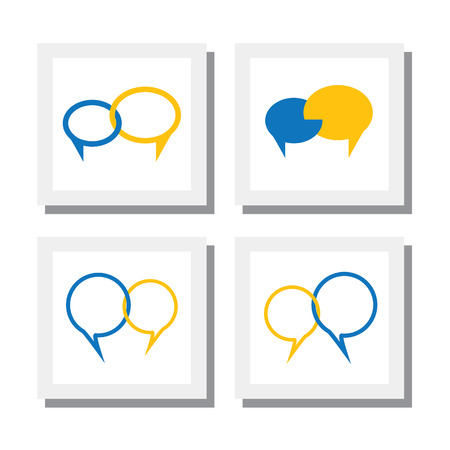 chat icons: set of chat signs and talk symbol or speech bubble icons Illustration