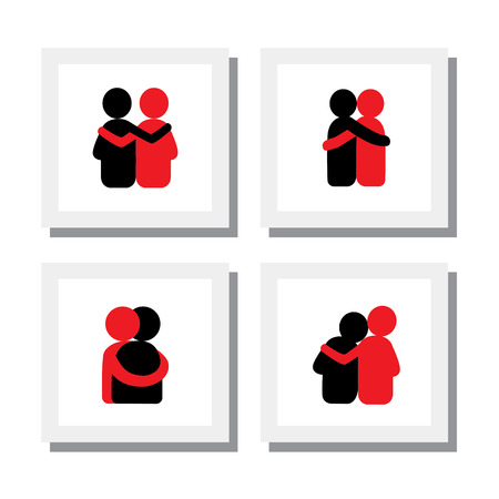 lover boy: Designs of friends hugging each other Illustration