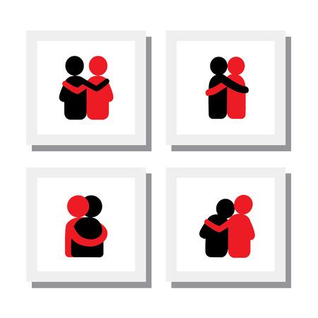 donna innamorata: Disegni di amici si abbracciano