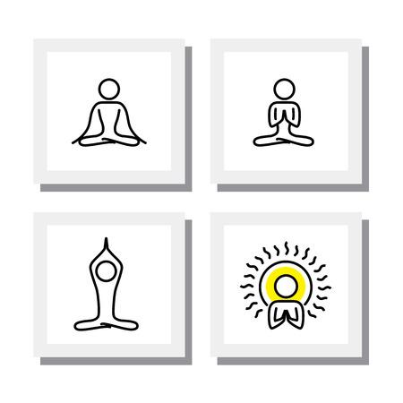 focus group: set of yoga and meditation postures  Illustration