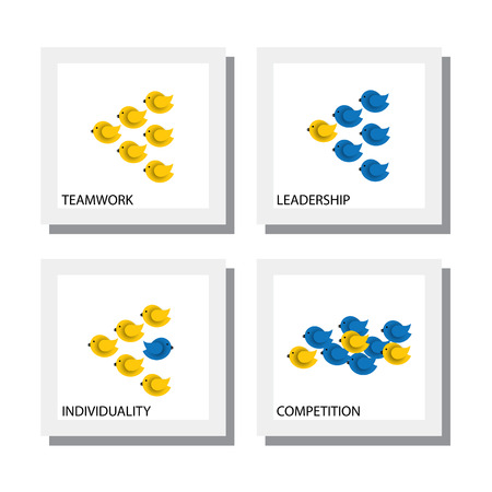 change concept: set of birds as concepts of competition leadership teamwork