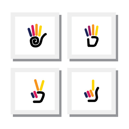 number 4: set of logo designs of colorful hand gestures of numbers